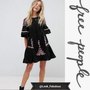 FREE PEOPLE SUMMER LOVIN EMBROIDERED BLACK DRESS